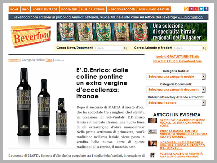 Itranae, olio extra vergine di oliva monocultivar